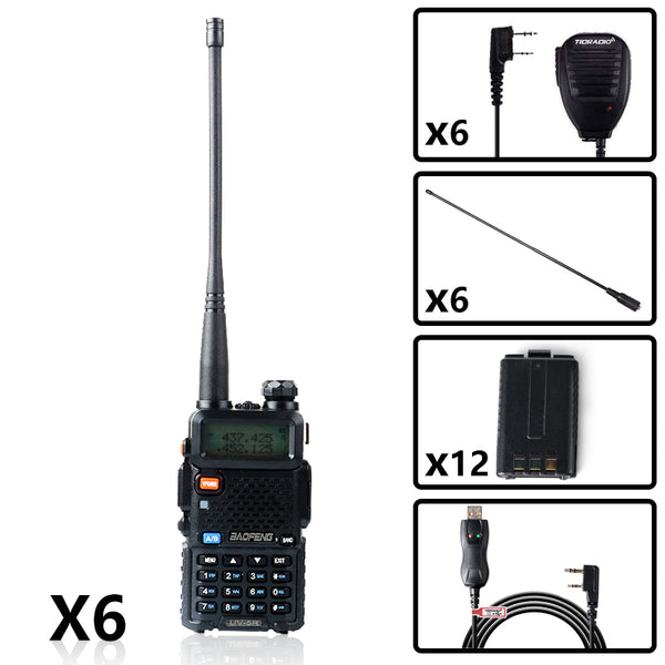 BAOFENG UV-5R UHF/VHF Walkie Talkie Bundle( 6PCS )