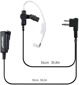 TIDRADIO Walkie Talkie Earpiece with Mic Motorola Earpiece 2 Pin Covert Acoustic Tube Radio Earpiece Compatible for Motorola Radio CLS1410 CP110 CP200 GP300 CP040 (Pack of 2)