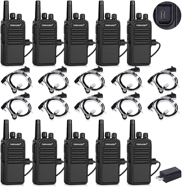 TIDRADIO TD-777S 2 Way Radios Walkie Talkies Long Range with Earpieces 22 CH USB Rechargeable Two Way Radios Hand Free Walkie Talkies for Adults for Commercial Organization (10 Pack)