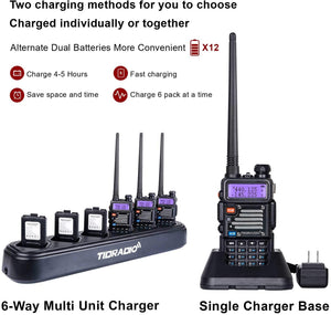TIDRADIO UV-5R Ham Radio Handheld with Driver Free Programming Cable and Six Way Multi Unit Charger and 12pcs 1800mAh Batteries (6 Pack)