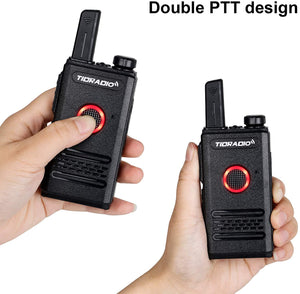 TIDRADIO M6 Long Range 22CH Radios Dual PTT Rechargeable Mini Walkie Talkies with Air Acoustic Tube Earpiece 2 Pack