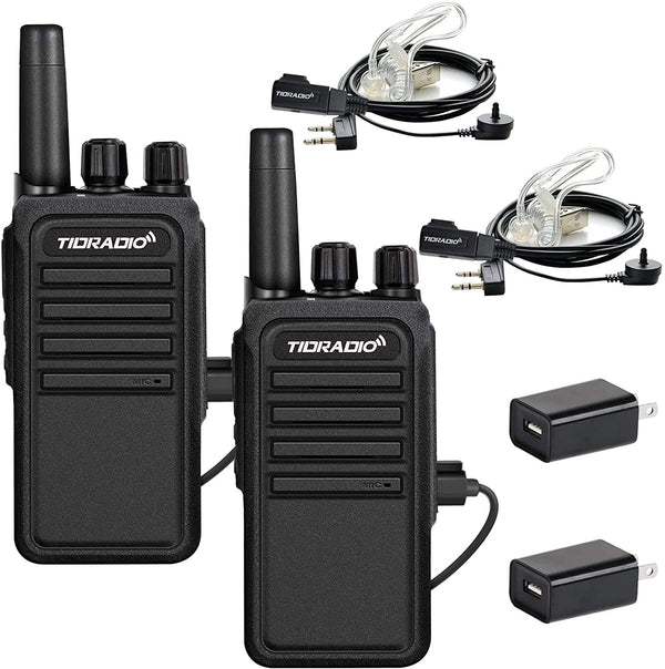TIDRADIO TD-777S Two Way Radios 2200mAh 2 Way Radio Long Range Walkie Talkies with Earpieces 22CH USB Rechargeable VOX Security Walkie Talkies for Adults for Business(2 Pack)