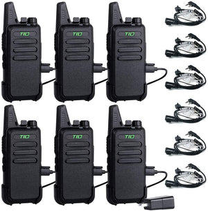 TIDRADIO TD-M8 Walkie Talkies for Adults Two Way Radio16 CH VOX Walkie Talkies Rechargeable 2 Way Radio with Earpiece 6 Pack