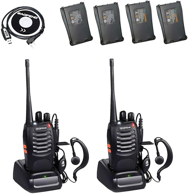 BaoFeng BF-888S 2 Way Radio with Extra Batteries and Earpiece + One Programming Cable(2 Pack)