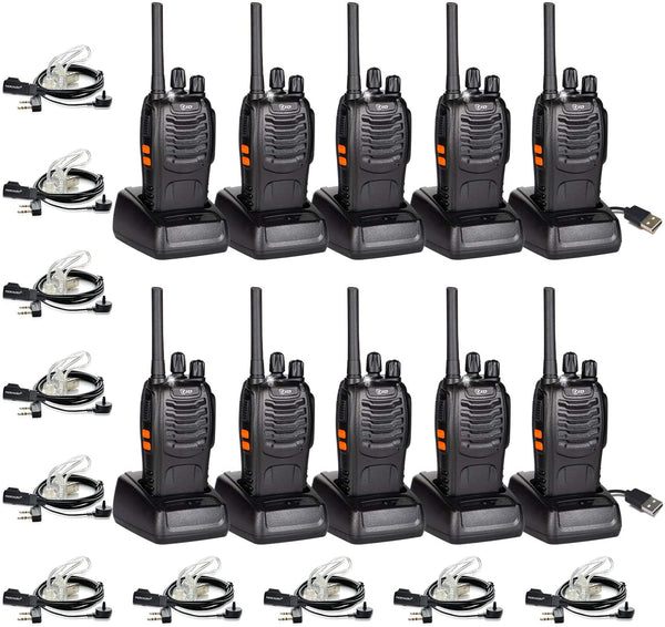TID TD-V2 Two Way Radio Rechargeable 2 Way Radio VOX Long Range 2-Way Radios Walkie Talkies for Adults with Secret Service Earpiece (10 Radio)