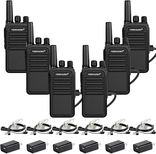 TIDRADIO TD-777S Two Way Radios 2200mAh 2 Way Radio Long Range Walkie Talkies with Earpieces 22CH USB Rechargeable VOX Security Walkie Talkies for Adults for Business(6 Pack)
