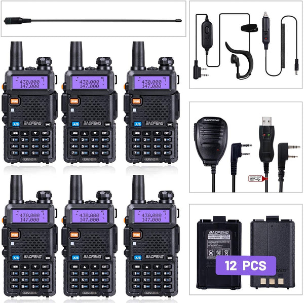 BaoFeng Radio UV-5R Ham Radio (6 Pack) + 1pcs TIDRADIO Driver Free Programming Cable + 6pcs TD-771 Antennas and Radio Mics + 12pcs 1800mAh Batteries BaoFeng Walkie Talkie