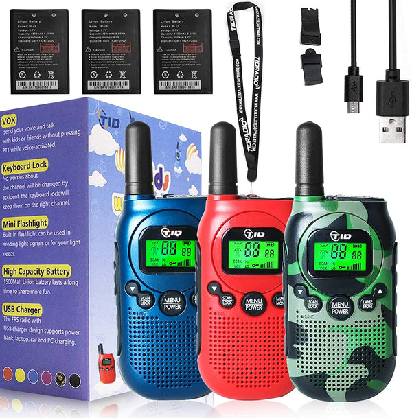 TIDRADIO TD-M3 Walkie Talkies for Kids 22 Channel Rechargeable Kids Walkie Talkies 2 Way Radio Toy Best Gifts for Boys and Girls to Outside 3 Pack
