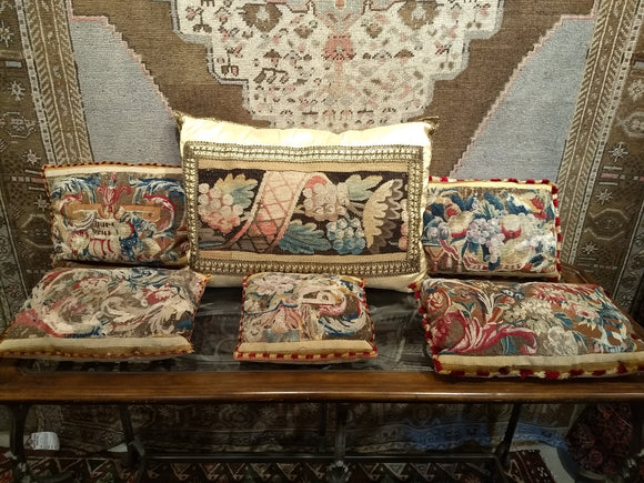 Antique French Aubusson Tapestry Pillow