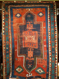 Antique Fachralo Kazak Area Rug