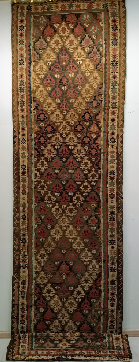 Antique Persian Qazvin Kilim Runner