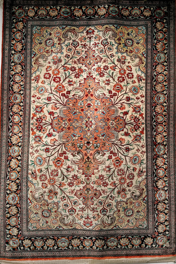 Vintage All Silk Qum Area Rug