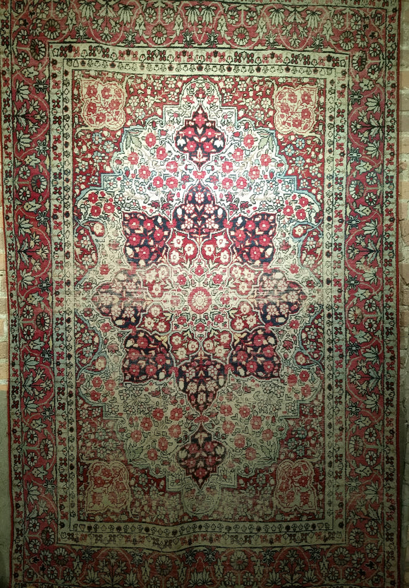 Antique Persian Kerman Lavar Area Rug from the Late 1800s