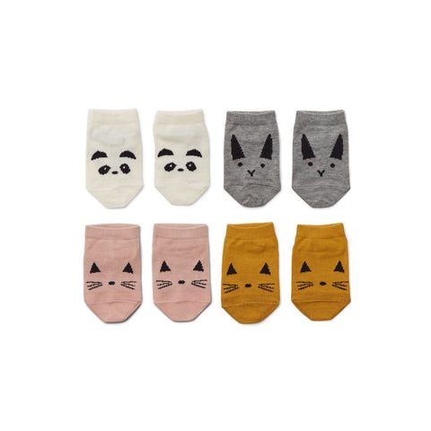 fanny footies 4pack - rose mix 粉色嬰幼兒腳踝襪 (4件裝)
