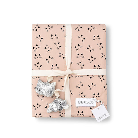 baby bed linen - cat rose blush