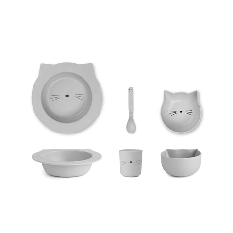 (pre-order) barbara bamboo baby set - cat dumbo grey 灰色貓咪嬰兒餐具