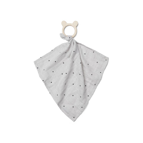 dines teether cuddle cloth - classic dot dumbo grey 灰色波點有機棉安撫巾