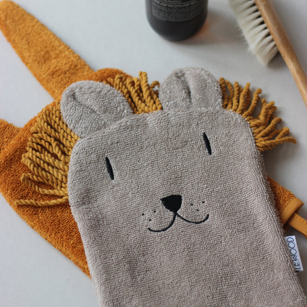 sylvester washcloth 3pack - lion mix 獅子有機棉洗澡小巾