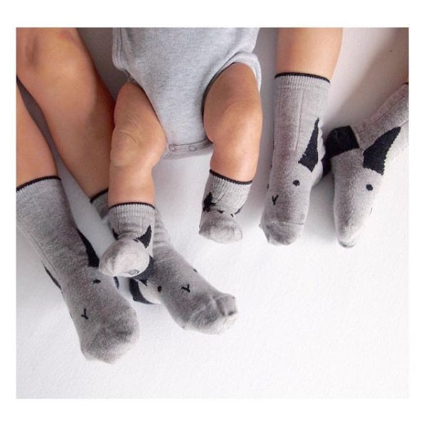 silas socks - rabbit grey melange 灰色小兔短襪