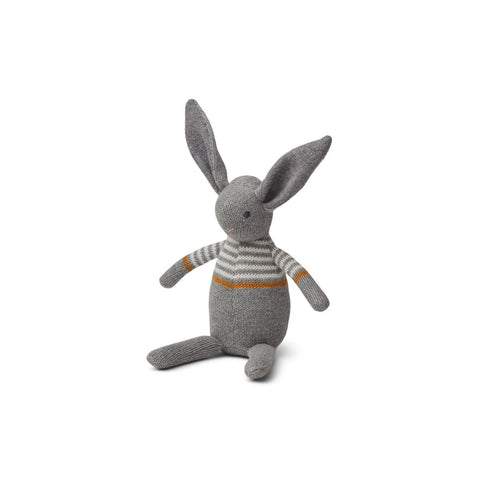 vigga knit mini teddy - rabbit grey melange 灰色有機棉小兔玩偶