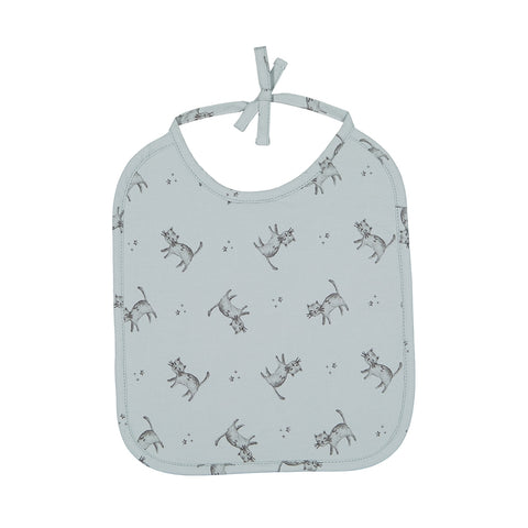 anna printed bib cat - blue cloud