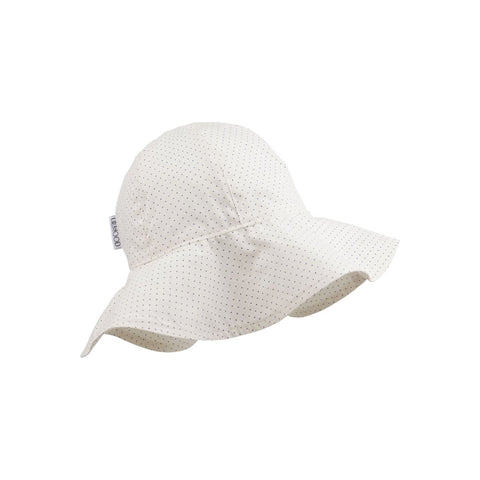amelia sun hat - little dot creme de la creme 白色波點有機棉闊邊帽