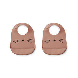 tilda silicone bib 2pack - cat dark rose