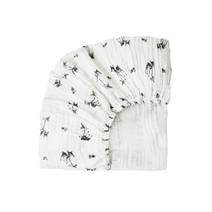 fitted sheet olivia fawn print - ecru