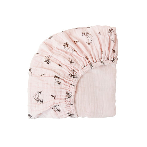 fitted sheet olivia fawn print - light pink 粉紅色小鹿有機棉床單