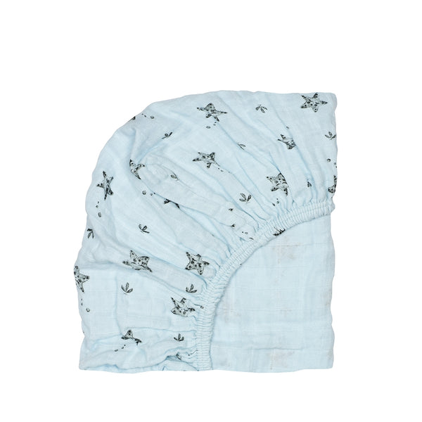 fitted sheet olivia starfish - iceberg blue 冰藍色海星有機棉床單
