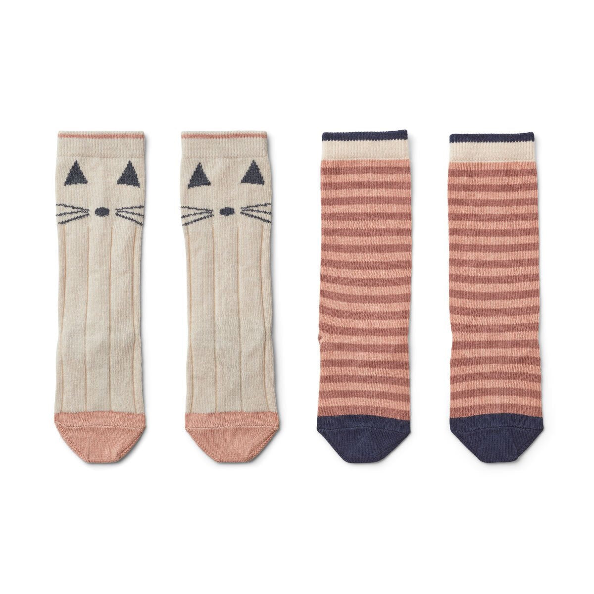 sofia knee socks 2pack - cat/stripe coral blush 貓咪條紋中長襪 (2對裝)