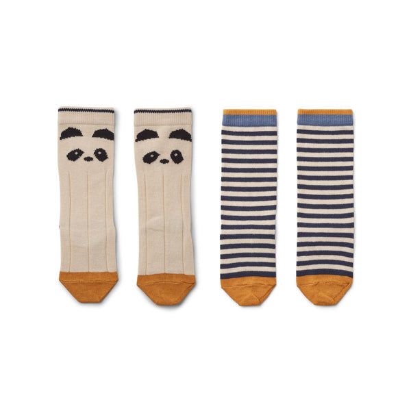 sofia knee socks 2pack - panda/stripe ecru 熊貓條紋中長襪 (2對裝)