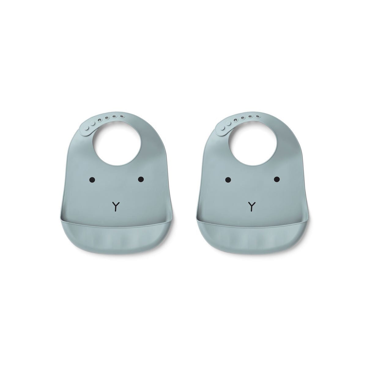tilda silicone bib 2pack - rabbit sea blue 海藍色小兔矽膠軟圍兜(2件裝)