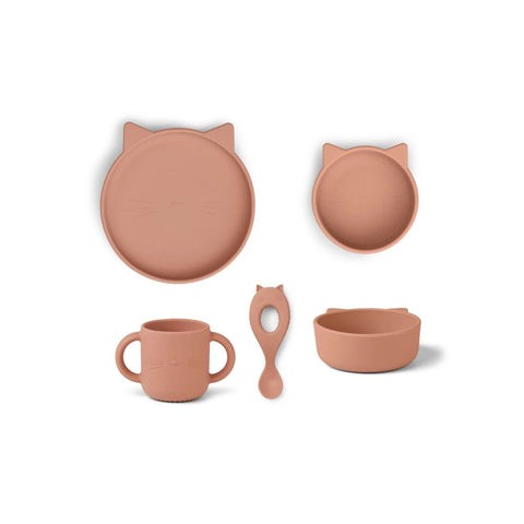 vivi silicone tableware 4 pack - baby - cat dark rose 玫瑰紅貓咪矽膠餐具套裝