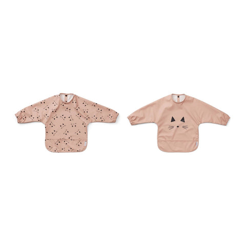 merle cape bib 2pack - cat rose