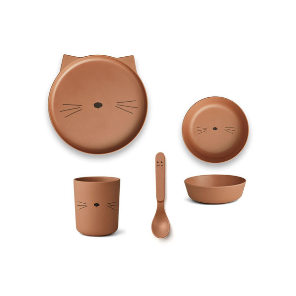 bamboo tableware box set - cat terracotta 赤陶色貓咪竹纖維餐具套裝