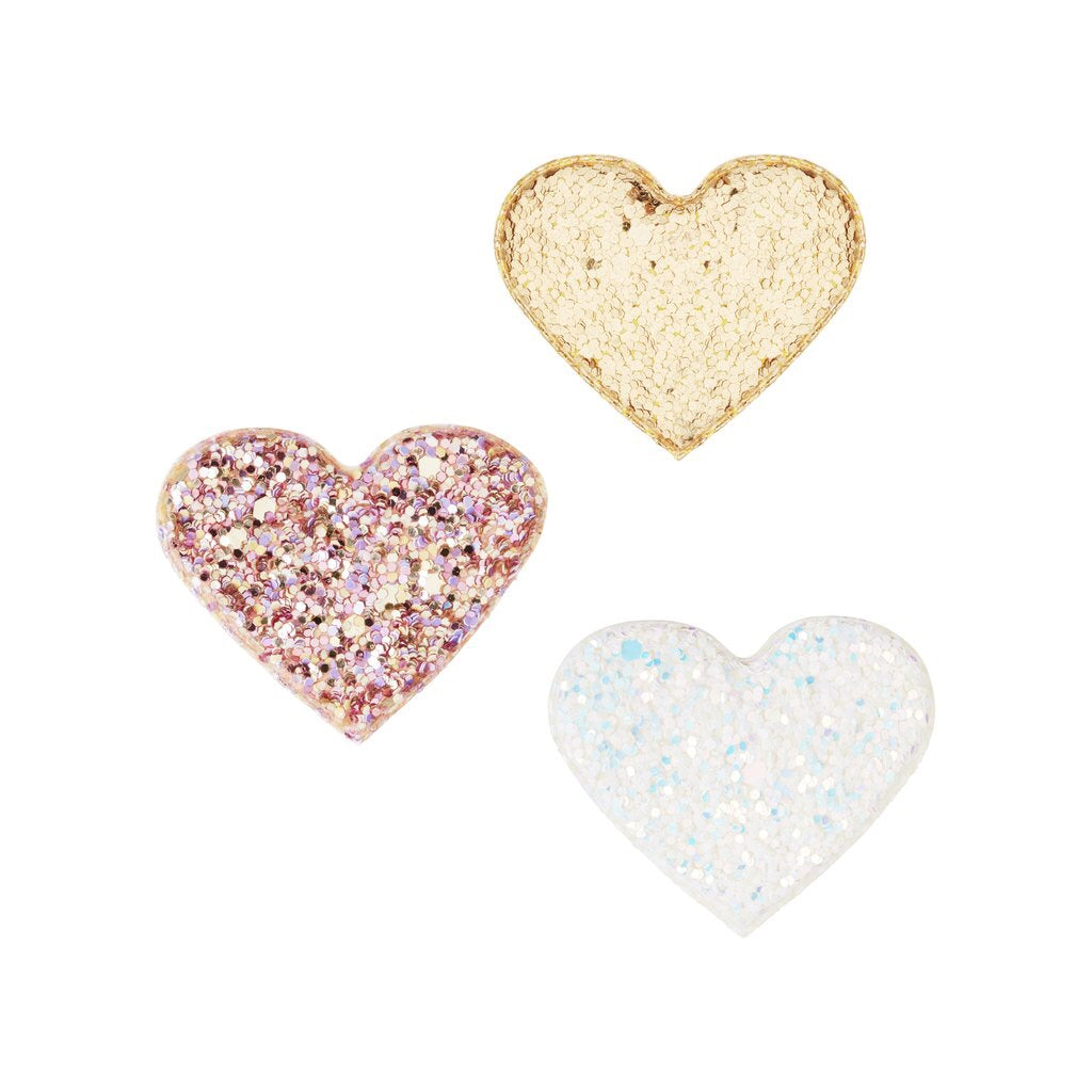 sparkle love heart clips / a set of 3