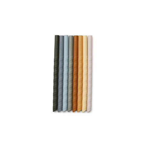 zoe straw set / 8pack - blue multi mix