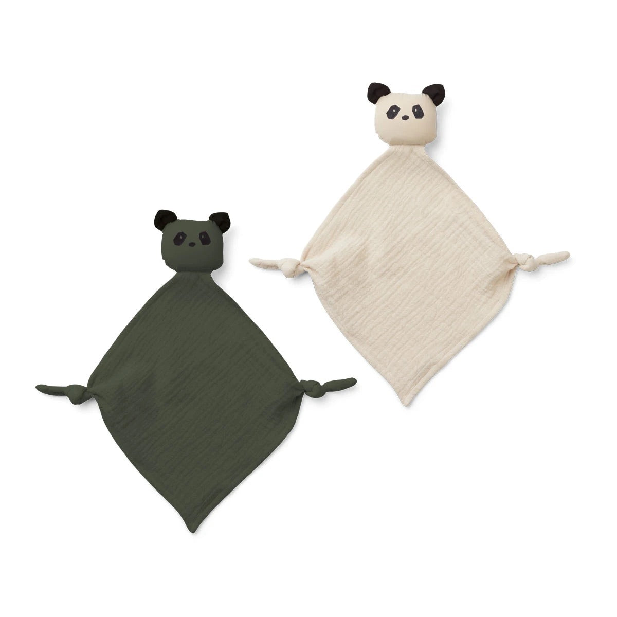 yoko mini cuddle cloth / 2pack - panda hunter green/sandy mix