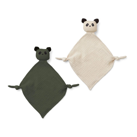 yoko mini cuddle cloth / 2pack - panda hunter green/sandy mix 森林綠熊貓迷你安撫巾(2件裝)