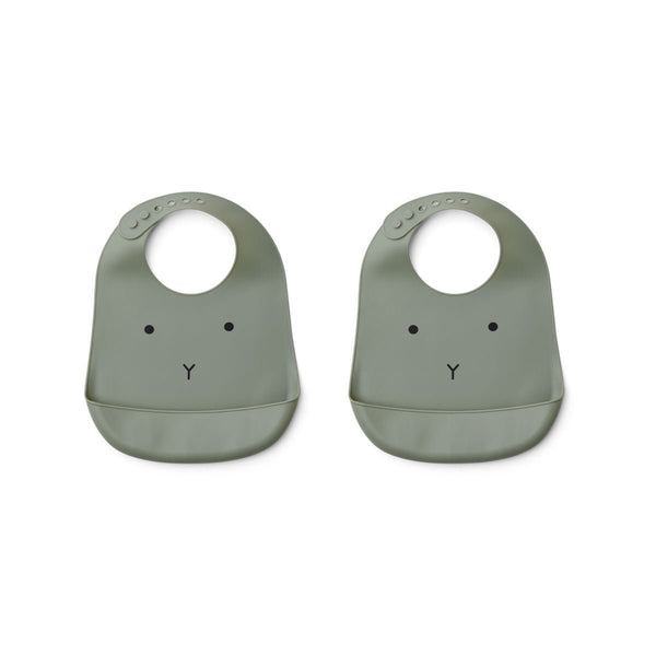tilda silicone bib 2pack - rabbit faune green 軍綠小兔矽膠軟圍兜(2件裝)