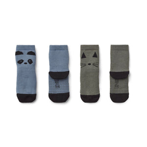nellie anti slip socks 2-pack - panda blue wave 藍色熊貓防滑短襪 (2對裝)