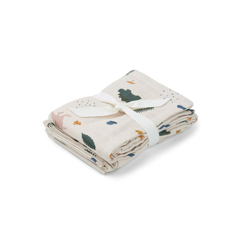 hannah muslin cloth 2 pack - dino mix 恐龍有機棉紗巾 (2件裝)