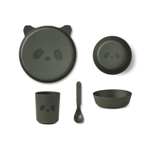 bamboo tableware box set - panda hunter green