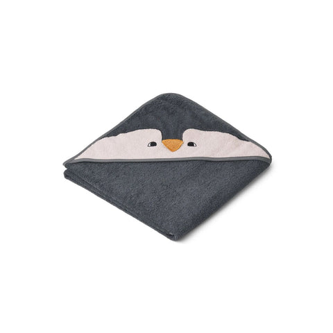albert hooded towel - penguin stone grey