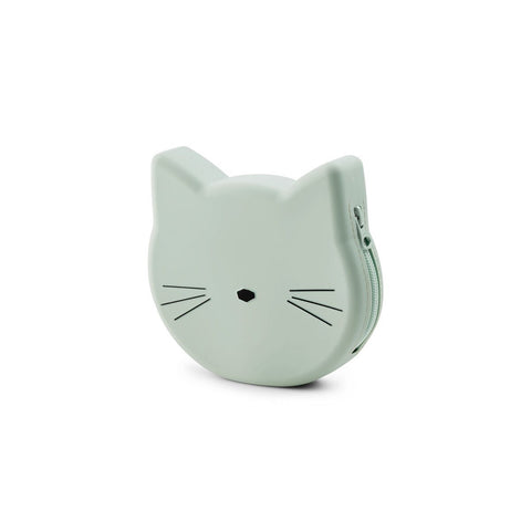 maggie purse - cat dusty mint 薄荷綠貓咪零錢小包