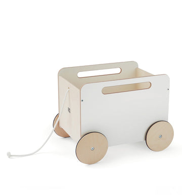 Rangement toy chest on wheel - White
