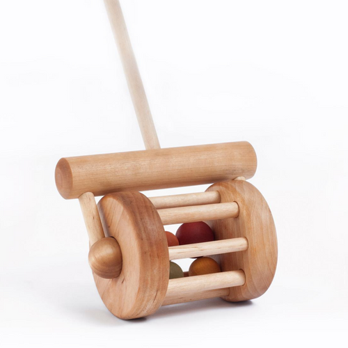 Wooden Lawn Mower Push Rattle