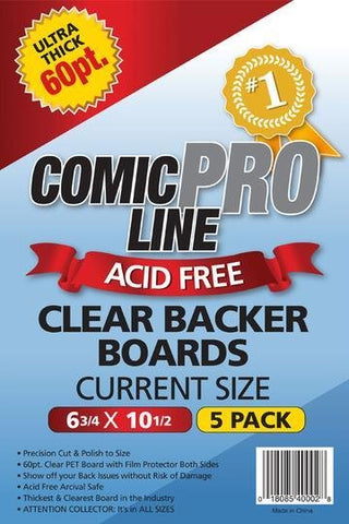 COMIC PRO LINE 60 PT CLEAR CURRENT BACKER BOARDS