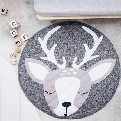 90CM Baby Infant Play Mats Kids Round Crawling Carpets Floor Rug Cute Animals - 9about